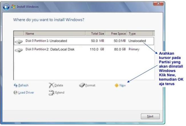 cara instal windows 7 memilih dan membuat partisi