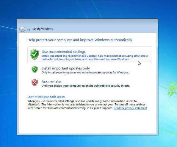 cara instal windows 7 recommended setting