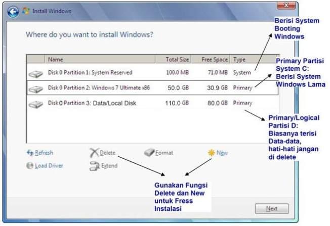 cara instal windows 7 pengaturan partisi