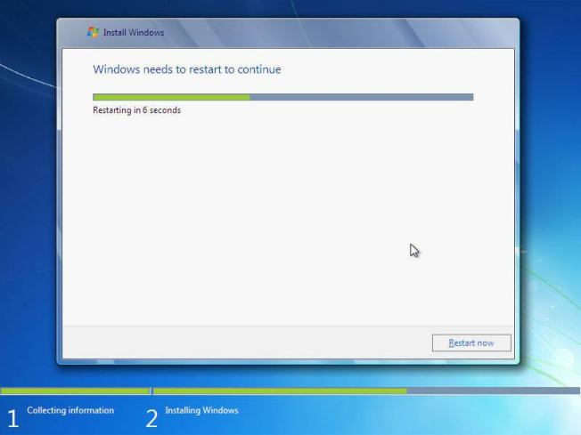 cara instal windows 7 restart otomatis