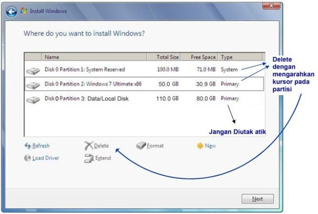 cara instal windows 7 delete partisi