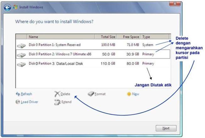 cara instal windows 7 delete partisi