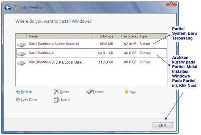 cara instal windows 7 partisi baru